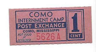 USA Como Mississippi WW2 POW Camp 1 Cent chit coupon token Campbell 8759