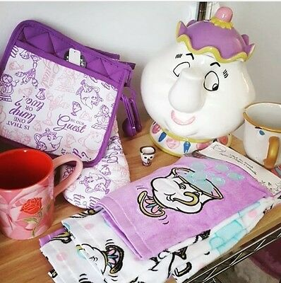 Disney Beauty and the Beast Oven Mitts & Kitchen Towel Set Chip Mrs. Potts  Home