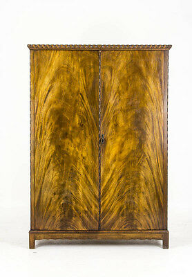 B557 Antique Scottish Flamed Mahogany Fitted Armoire Wardrobe, Closet