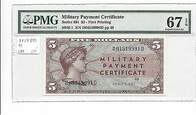 Series 691 5 Dollars 1st Printing 15-20 known this is PMG 67EPQ  SUPERB GEM UNC