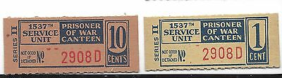 USA WW 2 POW Camp chits Atterbury, IN 1537th Service Unit 1, 10 Cents C. 8587, 9