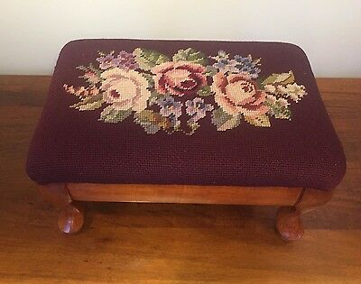 Vintage Burgundy Needlepoint Footstool with Roses and Cabriole Legs