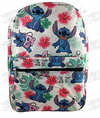 "16"" Disney Lilo & Stitch All Print Girls Large School Backpack (White)"