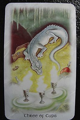 Three of Cups Celtic Dragon Tarot Single Replacement Card Excellent Condition