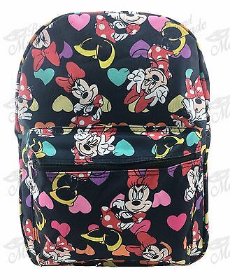"16"" Disney Minnie Mouse All Print Girls Large School Backpack Black"