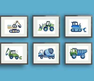 CONSTRUCTION VEHICLE CAR TRUCK BUSY BUILDER BABY BOY NURSERY WALL ART pictures