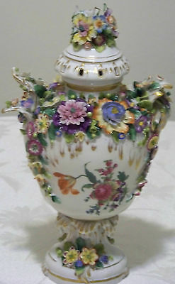 Early Elaborate Antique HP Dresden Covered Vase w Applied Flowers