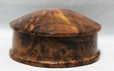 Vintage Trinket/Jewelry Box With Lid - Hand Carved Burled Wood