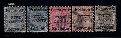 CEYLON STAMPS SC# 96;98;99;100 USED+1 MNG,Cat.$265