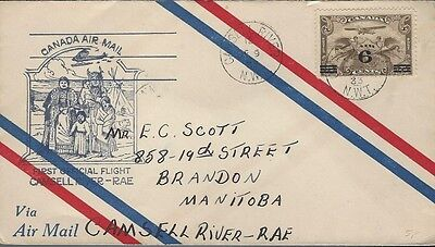 1933 Camsell River,NWT to Rae,NWT FFC addressed to Brandon, Manitoba