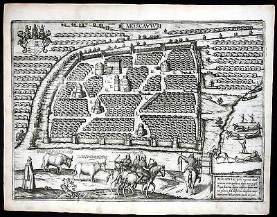 ca. 1575 Moscow Moskau Russia Russland Braun Hogenberg map Plan engraving