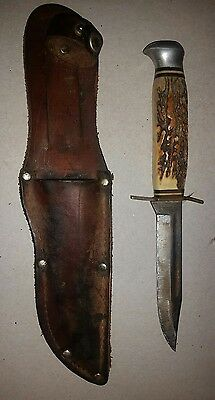 Vintage Fixed Blade Hunting Knife Made in Germany Leather Sheath