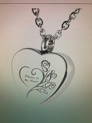 "HOUSWEETY Cremation Jewellery Stainless Steel ""Always in My Heart"" Urn Pendant"