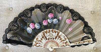 Vintage Black Lace and Hand Painted Fan