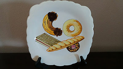TIL Handpainted Italian Donut Plate Square with Scalloped Edges