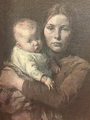 Antique Print Of Mother And Child
