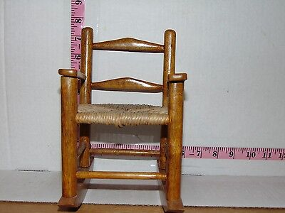 "Small Wood Doll Rocking Chair 8"" Seat 4"" Wide"
