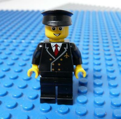 LEGO Minifig Airport - Pilot with Red Tie and 6 Buttons, Black Legs x 1PC