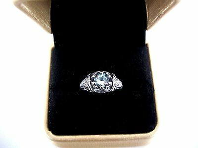 2Ct Natural Aquamarine Edwardian Style Ring  ~  Sterling Silver & Stamped 925
