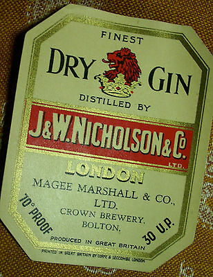 Finest Dry Gin Nicholson /vintage Labels - Magee, Marshall & Co Ltd Bolton Lancs