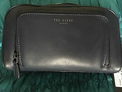 Ted Baker Navy Leather Wash bag BNWT