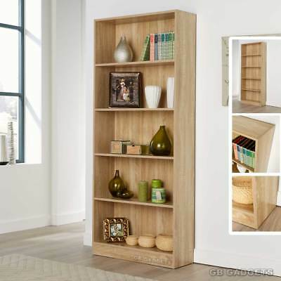Tall 5 Tier Wooden Bookcase Shelving Display Shelves Storage Unit Magzine Rack