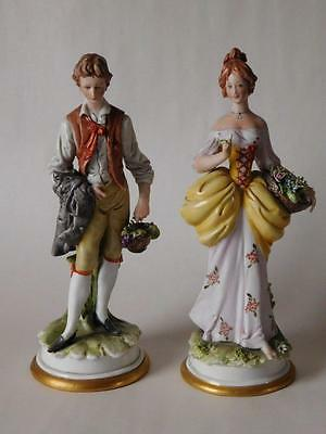"""Vintage Capo Di Monte Figurines """"gentleman  And His Lady"""" Signed Bruno Merli"""