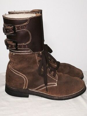 Vtg Brown Leather Military M43 M-1943 Combat Boot Style Double Buckle 8/9