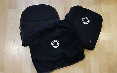 Bugaboo cameleon black fleece fabric set Hood, apron and seat cover.