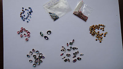 240 Vintage imitation gemstones including Ruby, Rose, Topaz, Sapphire and Iris