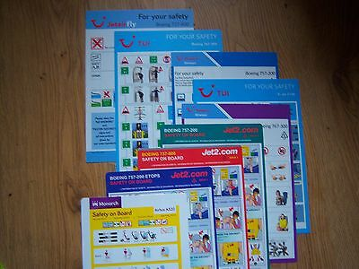 Airline flight safety cards x9