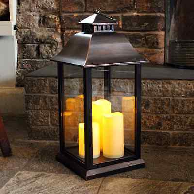 Medium Battery Operated Indoor / Outdoor Candle Lantern in Black - 61cm High