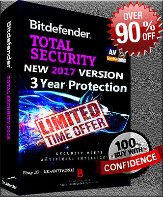 Bitdefender Total Security 2017 3 Year + 1 User  Pre Activated | No Key  | No Cd