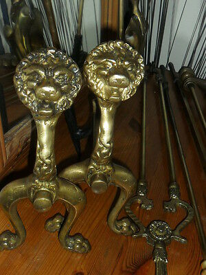free post uk,,,,,TWO ANTIQUE LION BRASS FIRE DOGS /ANDIRONS