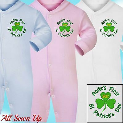 Embroidered Personalised First St Patrick's Day Sleepsuit / Babygrow / Bib - SHM