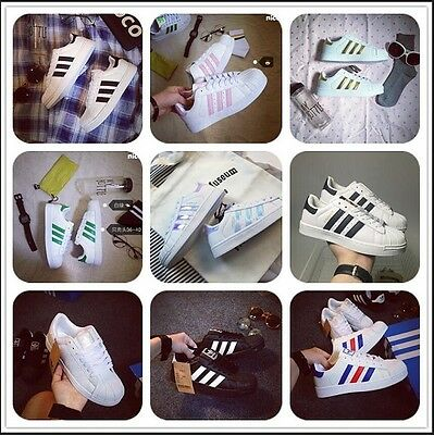 Trainers Shoes Superstar Men's Ladies Striped Lace Up Sport Running Sneakers
