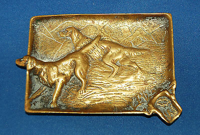 A characterful brass Edwardian pin, change or ashtray with setters/hunting dogs