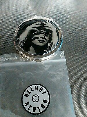 Vintage Very Rare Helmut  Newton Compact Mirror Silver Plated Or Stainless