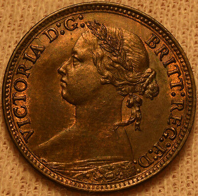 uk great britain victoria 1879 farthing unc uncirculated  hard this nice!