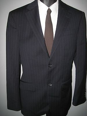 "38R -Men's navy blue pinstripe -2 button ""Geoffrey Beene"" wool suit- 32W x 29L"