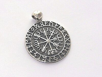 Handcrafted Oxidized Solid.925 Sterling Silver Pendant with Celtic Runes