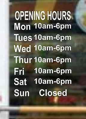 A4 Opening Hours Times Custom Shop Window Wall Vinyl Sticker Decal Shop Sign