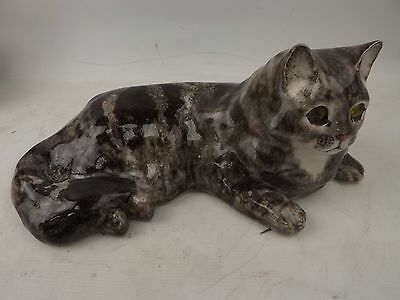 Vintage Winstanley Grey And Black Tabby Cat Kitten In Lying Down Position Size 6