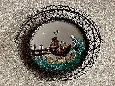 Wire Basket with Majolca Chickens Plate Circa 1900