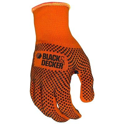 Black and Decker Knit Work Gloves with PVC Microdot Grip, Small