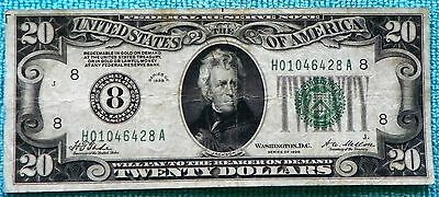 1928 $20  No. 8-St. Louis Redeemable in Gold on Demand Note FRN #8