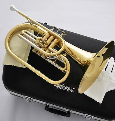 Professional Gold Lacquer Marching Mellophone horn F Key With Case Free Ship