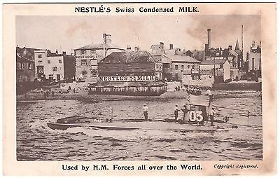 NESTLE'S SWISS CONDENSED MILK ADVERT POSTCARD HMS A3 - PORTSMOUTH c.1905 V. GOOD