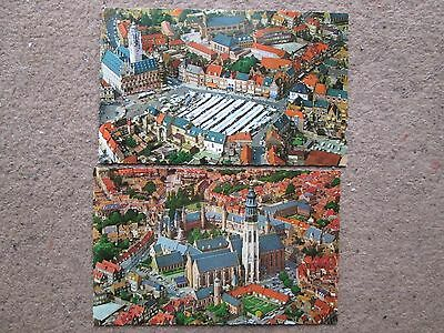 Two Postcards, Airiel Views of Middelburg, Holland