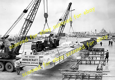 Photo - Denny D1 hovercraft unloaded from trailer at Southampton, March 1962